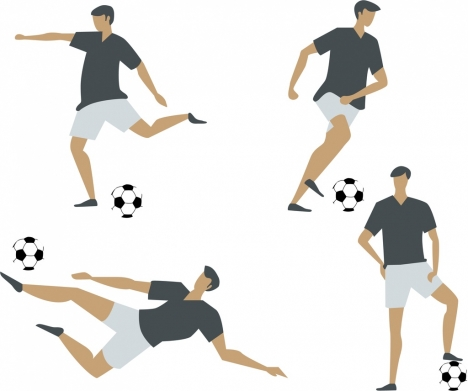 soccer player icons collection various postures design
