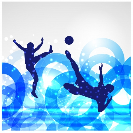 soccer poster with players on circles bokeh background