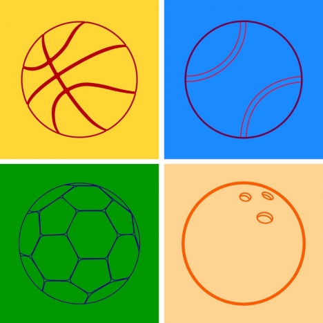 soccer tennis basketball bowling balls outline flat design