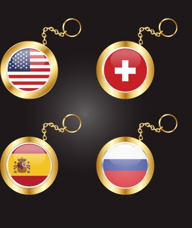 Souvenir Medal Templates Shiny Round Design Flags Decor