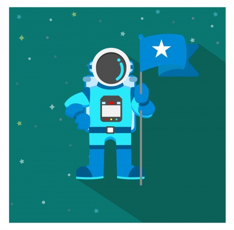 space astronaut holding flag vector illustration