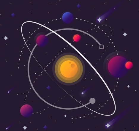 space background planets solar system icons decor