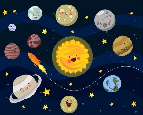space background stylized planets icons fun emoticon
