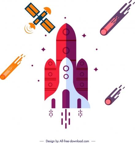 space exploration background spaceship satellite meteorite icons