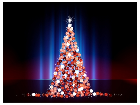 sparkle christmas tree abstract with baubles decoration