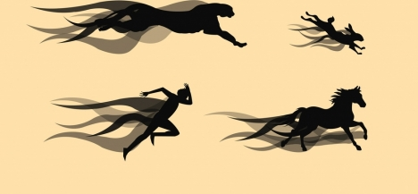 speed design elements human panther horse rabbit icons