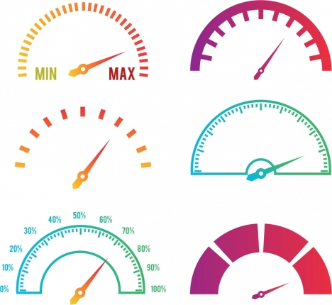 speed design elements various colored flat speedometer icons