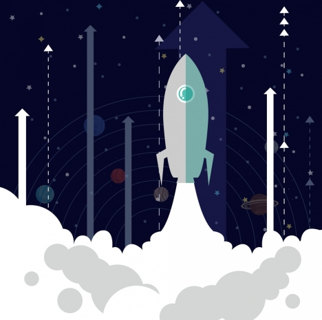 speed increasing background spaceship vertical arrow icons