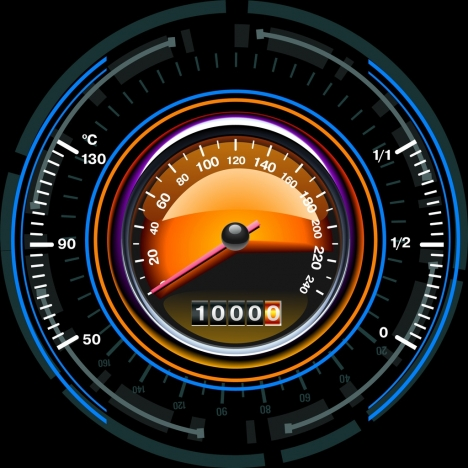 speedometer icon shiny colored flat round design