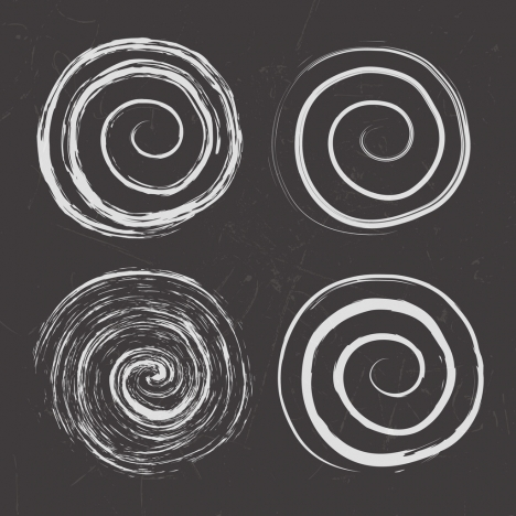 spiral circles icons flat black white design