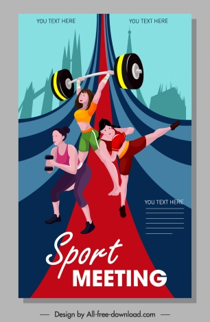 sport banner female athelete icons colorful cartoon characters