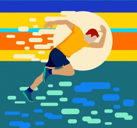 sports background athlete icon colorful bokeh design