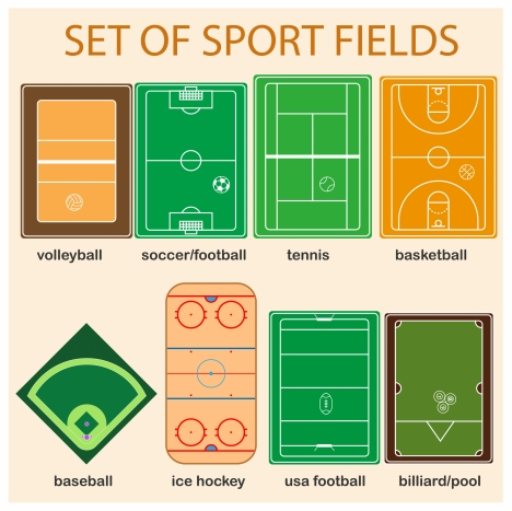 sports fields collections with colored sketch illustration