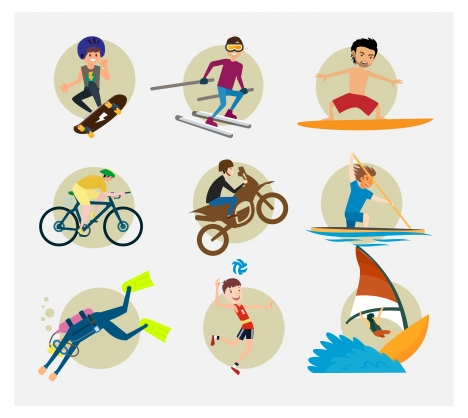 sports icons vector illustration with various colored styles