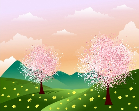 Spring background blossom flowers on hill cartoon design vectors spring background blossom flowers on hill cartoon design mightylinksfo