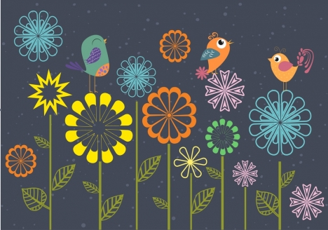 spring background colorful cartoon flowers birds ornament