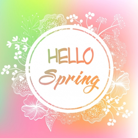 Spring Banner Flowers Sketch Circle Decoration Vectors Stock