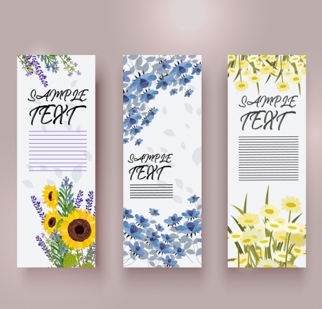 spring banner templates colorful flowers decoration vertical design