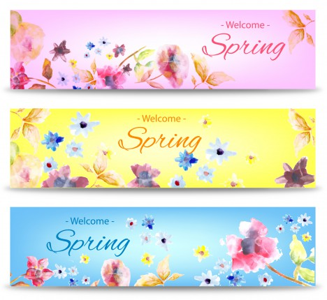 spring banner with flower