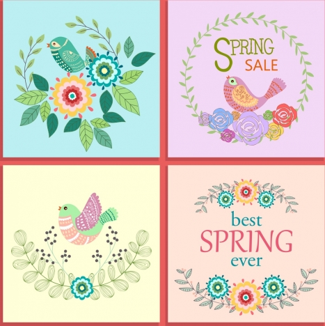 spring banners collection bird flower decoration classical design
