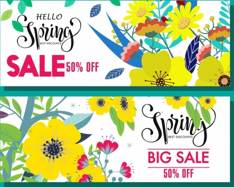 spring sales banners colorful flowers decoration