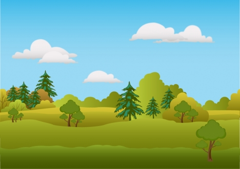 spring scenery vector illustration with trees on hill