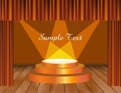 stage decorative template shiny modern orange decor