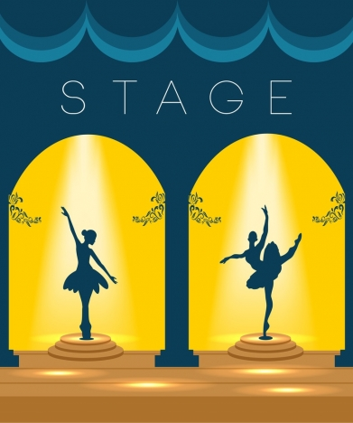 stage design template shiny yellow decoration ballerina icons