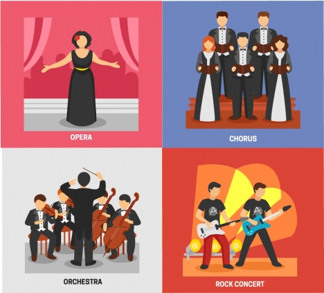stage performance concepts illustration with various types
