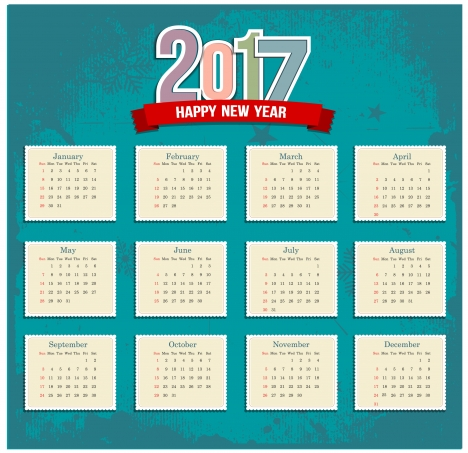 stamp style 2017 calendar templates
