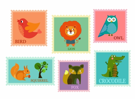 stamps collection design with cute animals background