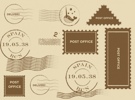 stamps collection retro flat design various shapes isolation