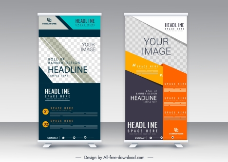 Standee Roll Banner Template Colorful Vertical Modern Design Vectors Stock In Format For Free Download 4 07mb
