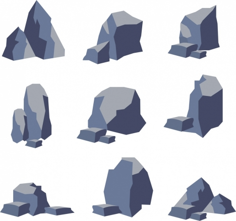 stone icons collection 3d shapes sketch