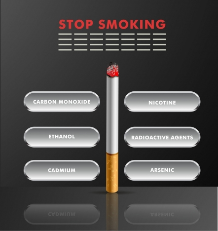stop smoking infographic cigarette icon components analysis