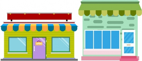 store front sketch one storey colored design