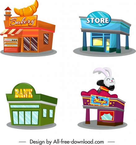 Store office icons colorful 3d sketch vectors stock in