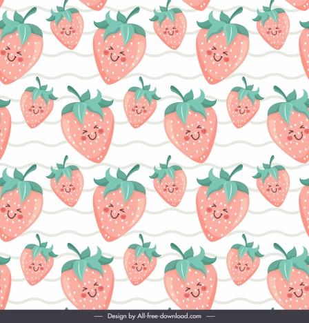 strawberries background cute stylized design