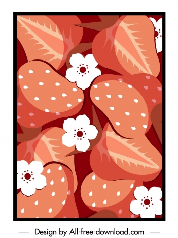 strawberry background template classical closeup flat handdrawn