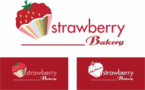 strawberry bakery logo design various styles and background