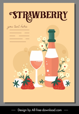 strawberry beverage advertising poster colorful classic design