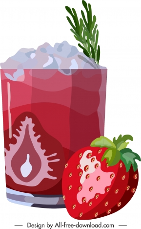 strawberry cocktail advertising background shiny colored flat decor