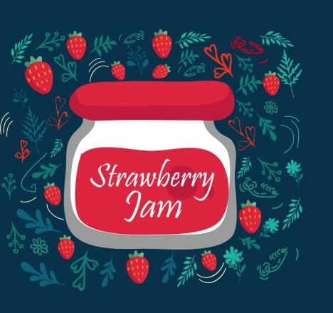 strawberry jam advertisement jar fruit icons decoration