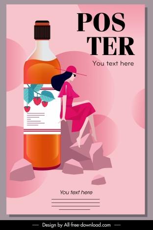 strawberry juice advertising poster flat bottle lady sketch
