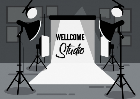 studio background device icons black white decor
