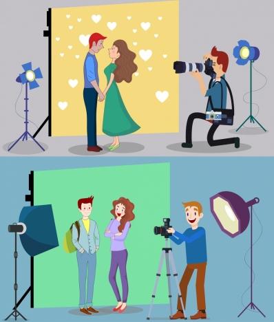studio background sets cameraman couple icons cartoon design