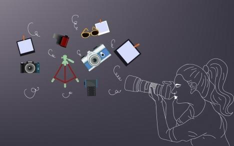 studio work background camerawoman design elements handdrawn icon