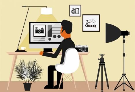 studio work background man photographing devices cartoon design