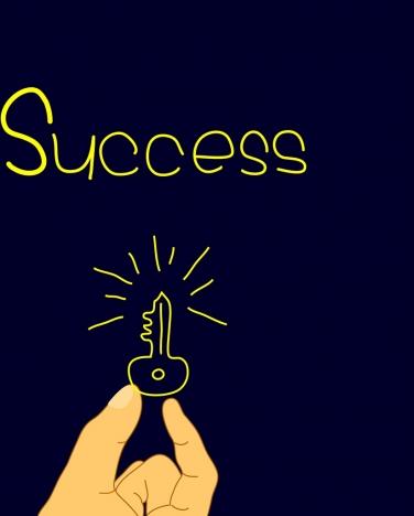success concept background hand key text decoration