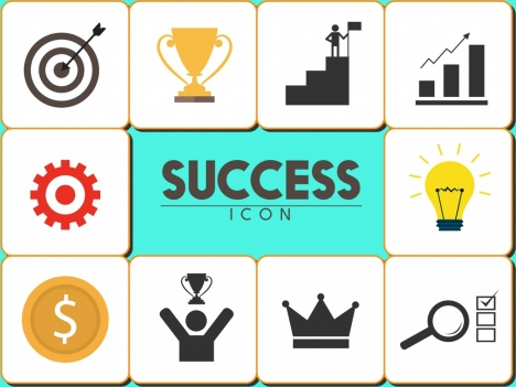 success icons collection various symbols squares isolation